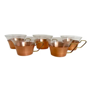 1950's Vintage Schott Mainz Jenaer German Glass Copper Tea Glasses- Set of 5 For Sale