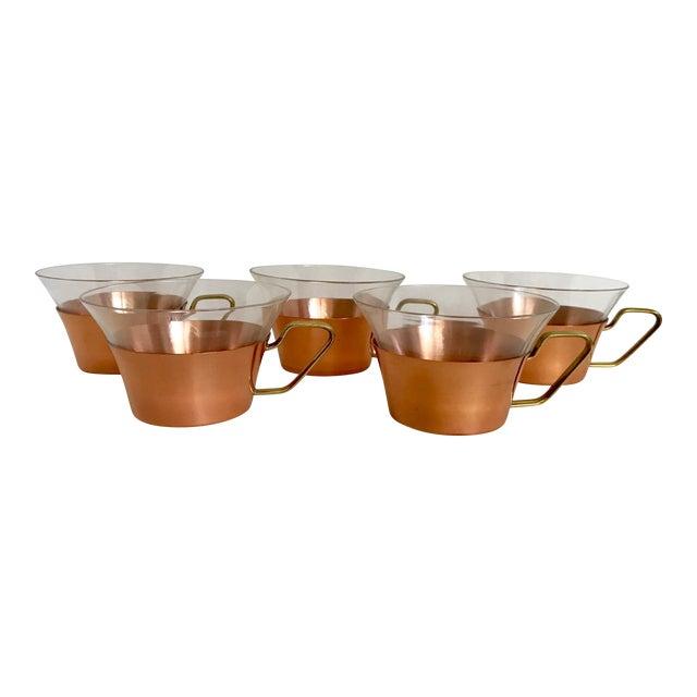 1950's Vintage Schott Mainz Jenaer German Glass Copper Tea Glasses- Set of 5 For Sale