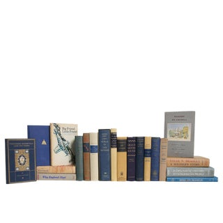 Midcentury U. S. History Book Set in Denim & Beach, S/20 For Sale