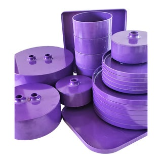 Mid-Century Modern Heller Iconic Dinnerware by Massimo Vignelli-Purple 26 Pieces For Sale