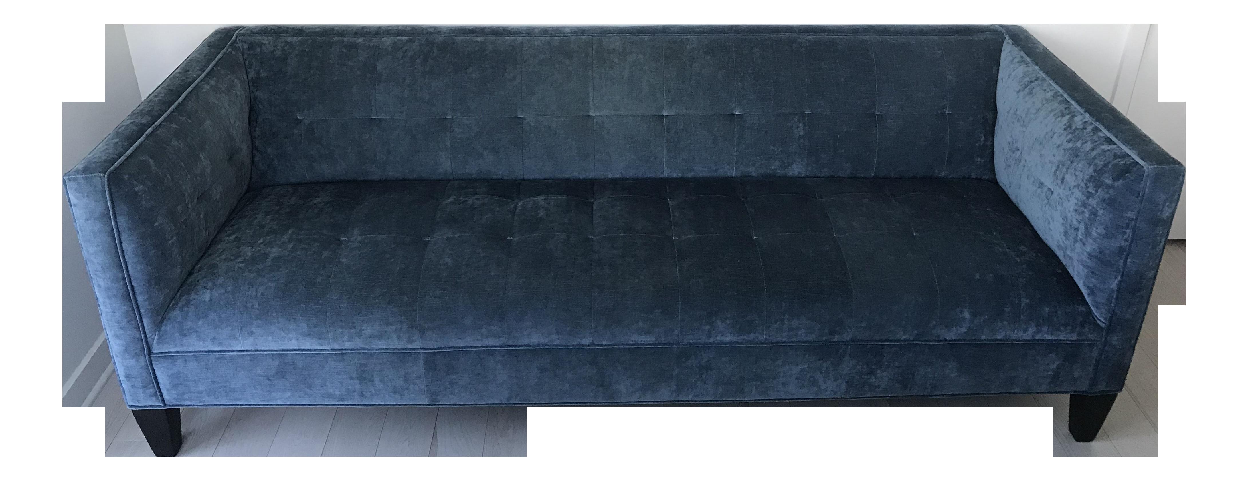Custom Blue Velvet Mitchell Gold + Bob Williams Kennedy Sofa For Sale