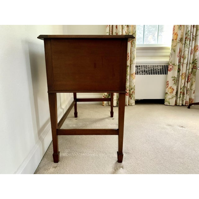 Mid 20th Century Vintage Georgian Walnut Writing Table With Tooled Leather Top For Sale - Image 5 of 12