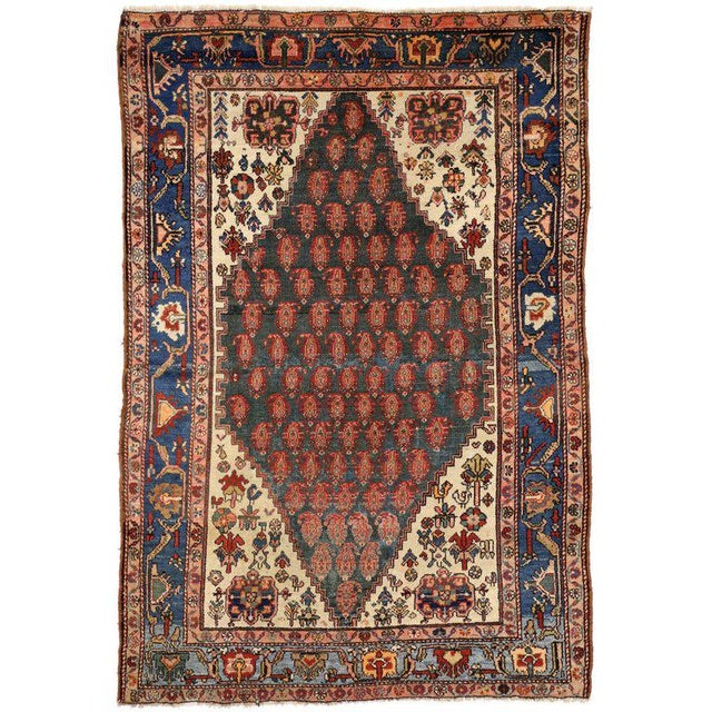 Blue Antique Persian Malayer Rug with Modern Traditional Style For Sale - Image 8 of 8