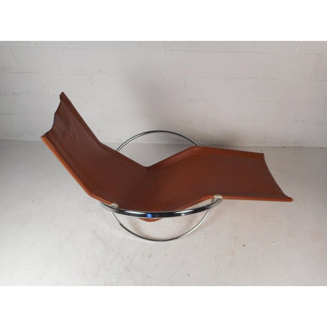 Italian Midcentury Italian Folding Chaise Lounge Rocker For Sale - Image 3 of 10