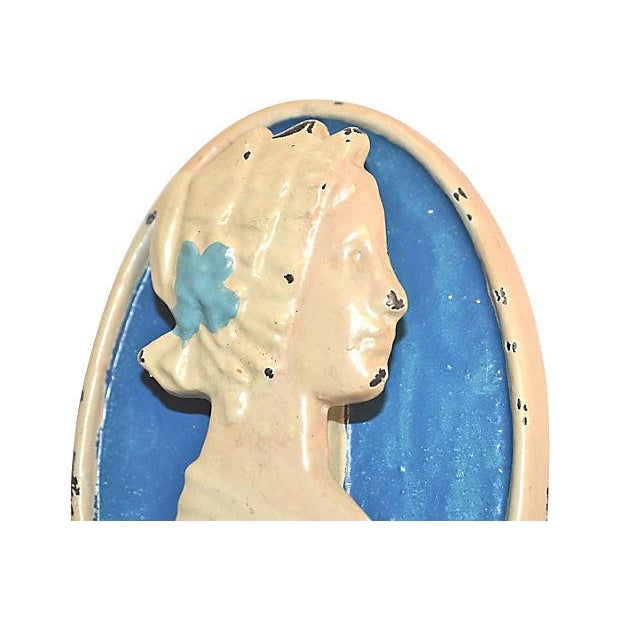 Metal Colonial Lady Door Knocker 1920s For Sale - Image 7 of 9