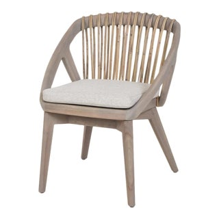 Contemporary Armchair With Mahogany Structure With Woven Rattan Back For Sale