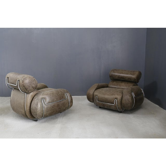 Metal Vintage Armchairs in 70's Leather and Steel. For Sale - Image 7 of 7