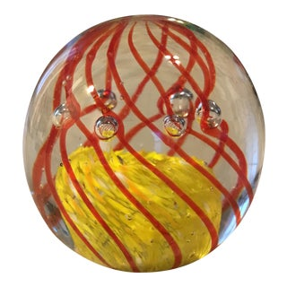 Hand Blown Art Glass Bubble Paper Weight For Sale