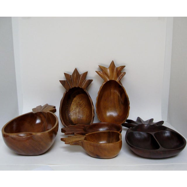 Boho Chic Wood Pineapple Bowls - Set of 6 For Sale - Image 3 of 5