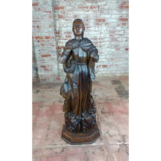 """17th century Antique French Carved Oak Santo figure size 18 x 13 x 52"""" A beautiful piece that will add to your décor!"""