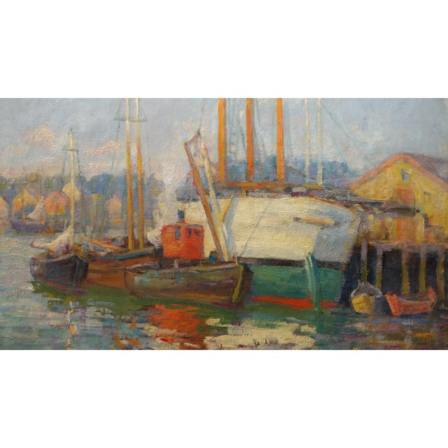 Frederick Carl Smith -Boats in the Port -Impressionist Oil painting c1930s Oil painting on Canvas -Signed - Image 5 of 10