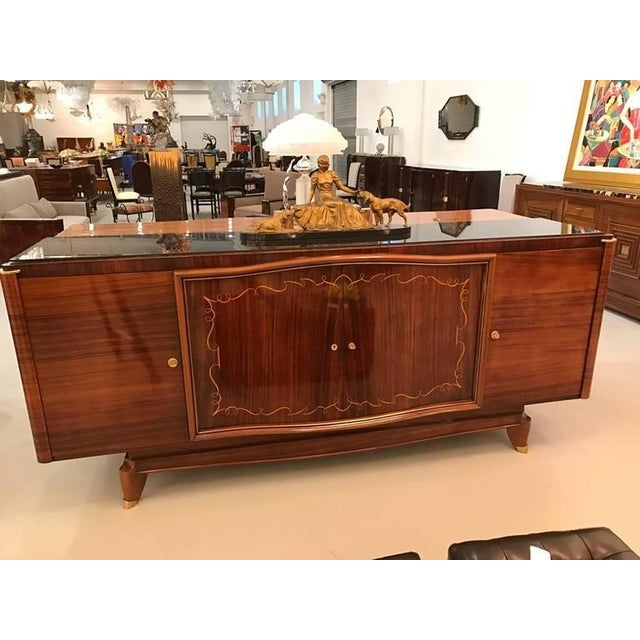 French Art Deco Palisander Buffet with Black Glass Top - Image 9 of 9