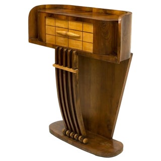 1930s French Art Deco Streamline Moderne Console Table Cabinet ~ Inspired by the Sleek Aerodynamic Cars of the Period For Sale