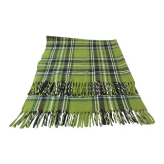 Vintage Woollen Green and Blue Plaid Throw For Sale
