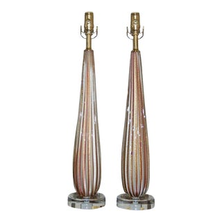 Vintage Murano Striped Glass Table Lamps Lavender Gold For Sale