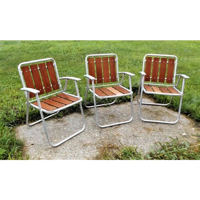 Redwood & Aluminum Folding Patio Lawn Chairs - Set of 3