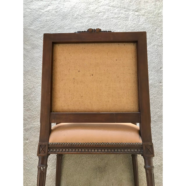 Animal Skin Vintage French Louis XVI Style Leather/Nailhead Chair- a Pair For Sale - Image 7 of 9