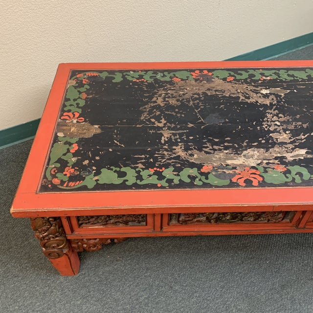 Mid-20th Century Chinese Hand Painted + Carved Coffee Table For Sale - Image 10 of 12