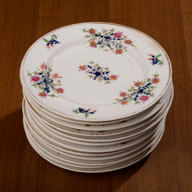 18th Century Staffordshire Soft Paste Floral Plates - Set of 12 For Sale - Image 13 of 13