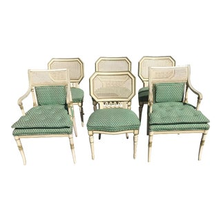 Cane Back Neoclassical Upholstered Vintage Dining Chairs - Set of 6