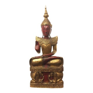 Early 20th Century Rare Red Gold Hand-Carved Wooden Buddha For Sale