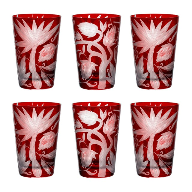 Contemporary ARTEL Jungle Deco Tumbler, Red, Set of 6 For Sale - Image 3 of 3