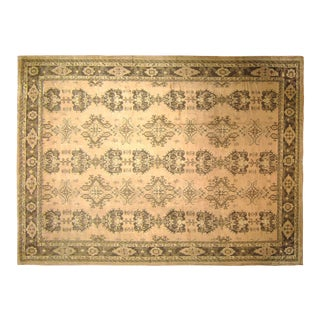 Vintage Turkish Oushak Rug with Repeating Crab Design For Sale