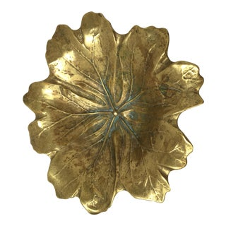 Virginia Metalcrafters Brass Leaf Tray For Sale