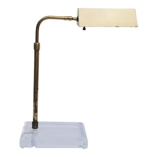Bauer Brass and Lucite Swing Arm Desk Lamp. For Sale