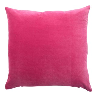FirmaMenta Italian Solid Bright Pink Velvet Pillow For Sale