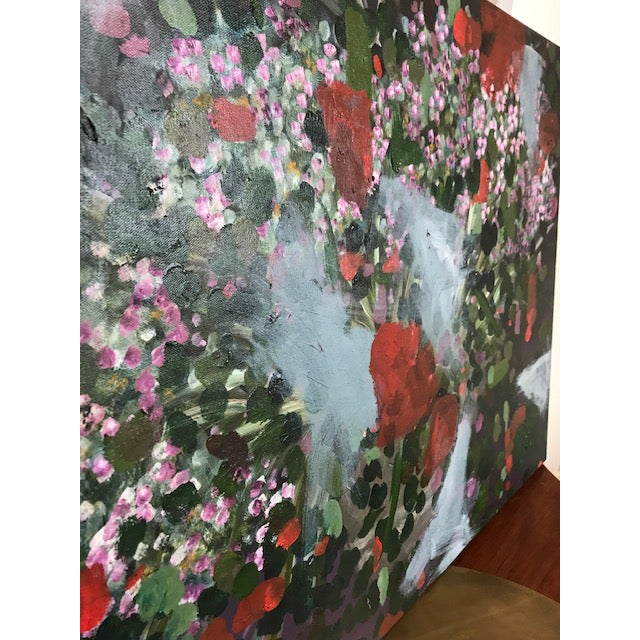 Late 20th Century Vintage Abstract Floral Painting For Sale - Image 5 of 6