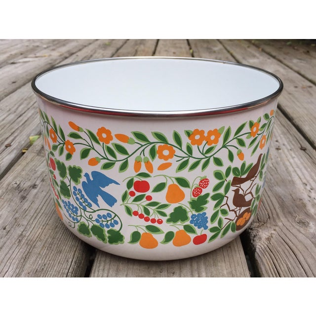 Colorfully Decorated Enamelware Bowl - Image 2 of 7