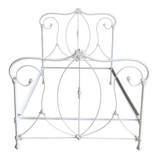 Antique French Country Cast Iron Full Bedframe For Sale