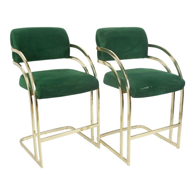 Comtemporary Shell Brass Cantilever Bar Stools - a Pair For Sale