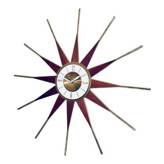 1960s Mid Century Modern Starburst Wall Clock by Elgin For Sale