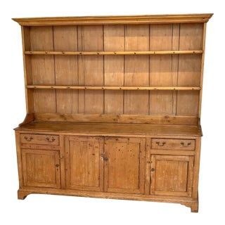 19th Century Cottage Sonoma Country Antiques Pine Hutch Buffet Sideboard For Sale