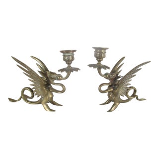 Antique Chinese Dragon Candle Holders - a Pair For Sale