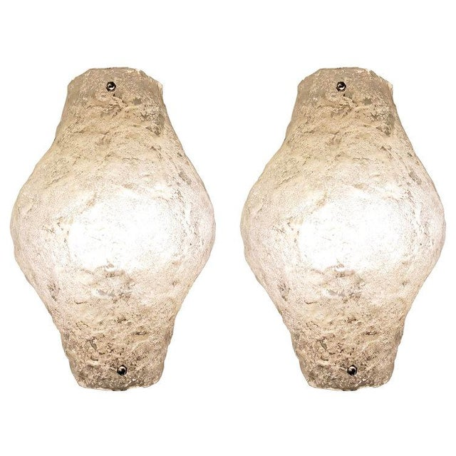 Mid 20th Century Pair of Murano Glass Sconces or Flush Mounts For Sale - Image 5 of 5