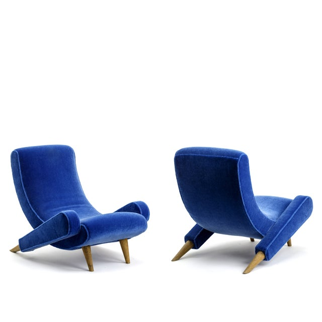 "Mid-Century Modern Jean Royere Stunning Documented Pair of Lounge Chairs Model ""Varsano"" For Sale - Image 3 of 13"