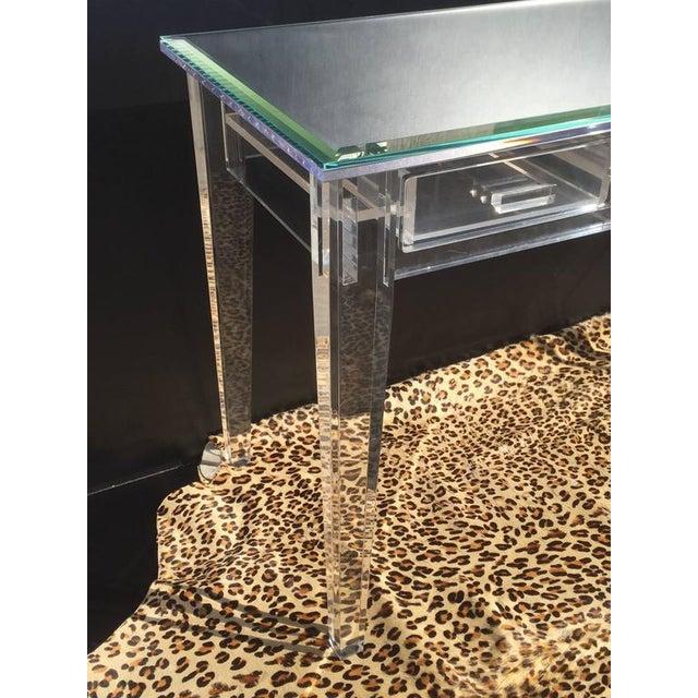 Elegant Lucite Desk with Mirror Top Style of Charles Hollis Jones - Image 6 of 8