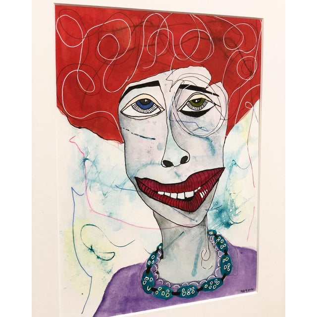 Contemporary Contemporary Folk Art Portrait Mixed-Media Painting by Robin Thompson, Framed For Sale - Image 3 of 7