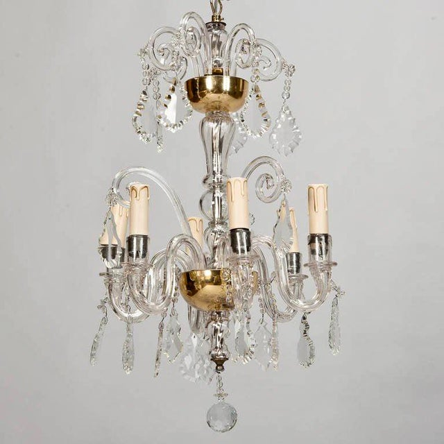 French Tiered All Crystal Six Light Chandelier c.1920 - Image 3 of 9