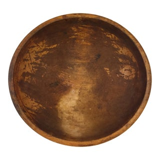 Antique Turned Wood Kitchen Utility Bowl For Sale
