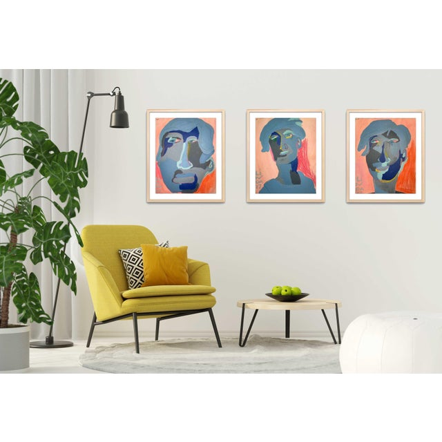 "Contemporary Abstract Portrait Painting ""Is He Ready to Go, No. 2"" - Framed For Sale - Image 11 of 12"