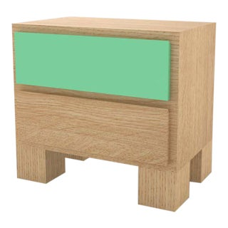Contemporary 101 Bedside in Oak and Mint by Orphan Work, 2020 For Sale