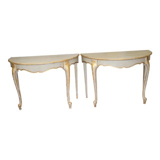 Vintage French Demi-Lune Tables - A Pair