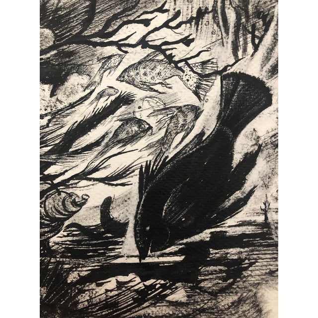 Under the Sea en Grisaille Ink Wash by William Palmer, C. 1940s For Sale - Image 4 of 5