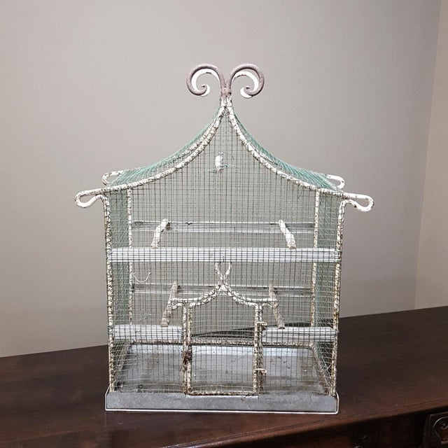 19th Century French Painted Wire Pagoda Birdcage For Sale - Image 10 of 13