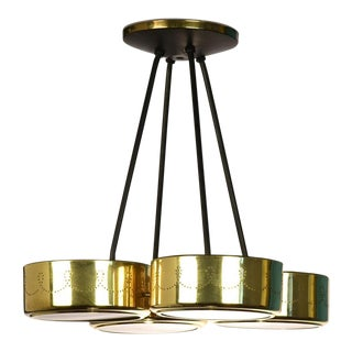 Gerald Thurston for Lightolier Four Shade Chandelier For Sale