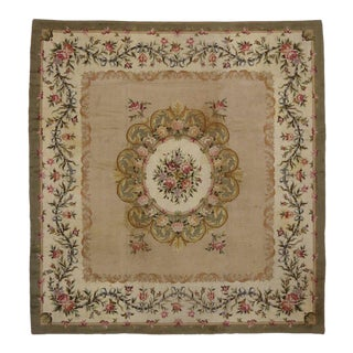 Antique Savonnerie Rug with French Provincial Aubusson Style, Square Rug For Sale